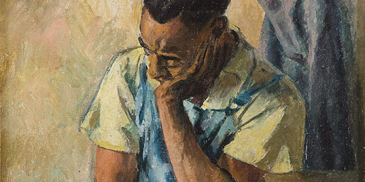 Aaron Douglas, Untitled (seated man with head resting), oil on canvas, c.1935