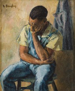 Aaron Douglas, Untitled (seated man with head resting), oil on canvas, c. 1935