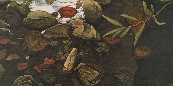 Paul Otero, Untitled (rocks, water), egg tempera, 1985