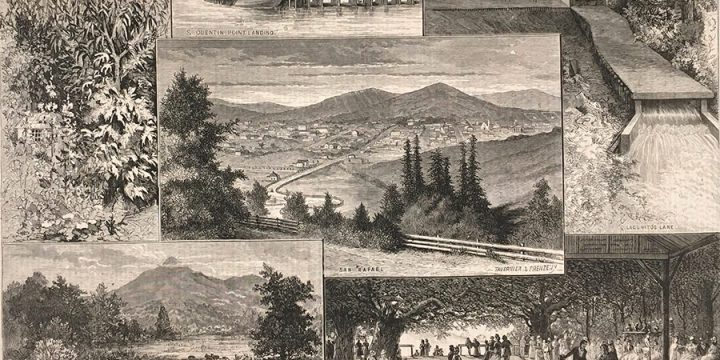 Jules Tavernier, The Suburbs of San Francisco, wood engraving, published in Harper's Weekly, May 29, 1875