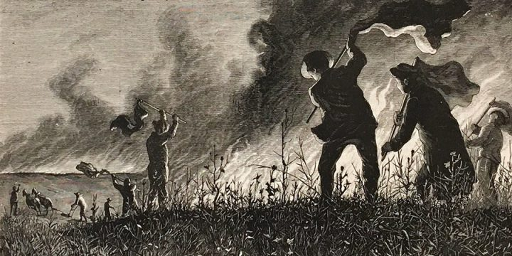 Jules Tavernier, Fighting the Fire, wood engraving, published in Harper's Weekly, February 28, 1874