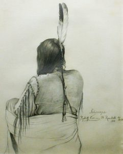 Rudolf Cronau, Schiosapa. a Dakota Indian Drawing made at Ft. Randall, S. Dakota, in order to show arrangement of the scalp. Oct. 31, 1881, graphite on artist board