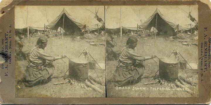 Frank A. Rinehart, Omaha Squaw - Preparing Dinner, stereoview, c. 1899