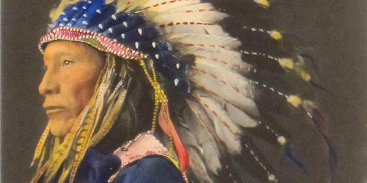 Adolph F. Muhr (Rinehart Studio), Afraid of Eagle, Sioux, handcolored platinum print, 1898