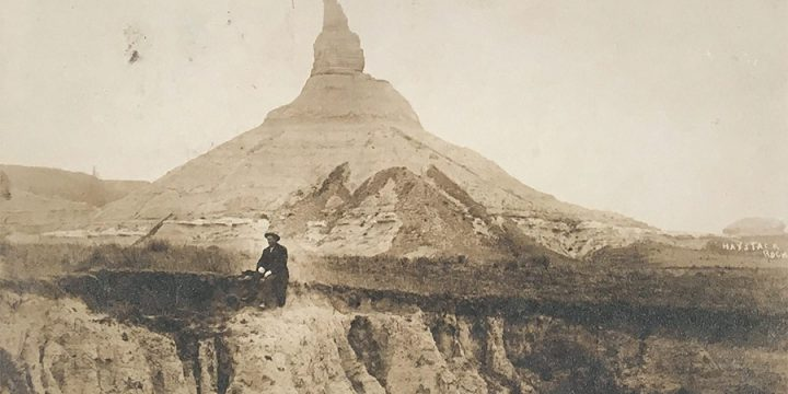 Solomon D. Butcher, Chimney Rock, Bayard, Neb. postcard with original black & white photograph, c. 1908