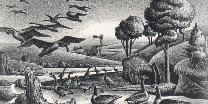 Aaron Pyle, Wild Geese on the Platte, lithograph, n.d.