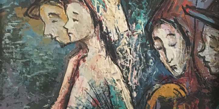 Tressa Pond Emerson Benson, Untitled (four figures), oil on board, c. 1960s