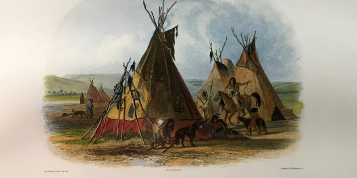 Karl Bodmer, A Skin Lodge of an Assiniboin Chief, handcolored aquatint, 1840