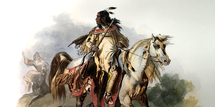 Karl Bodmer, A Blackfoot Indian on Horse-back, 1840