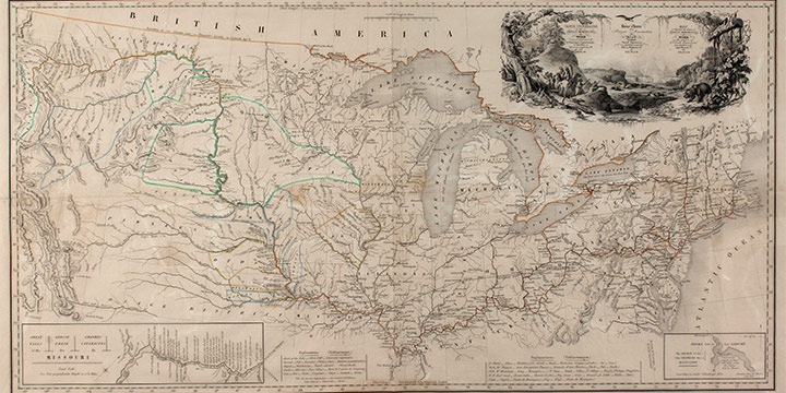 Karl Bodmer, Map to Illustrate the Route of Prince Maximilian of Wied in the Interior of North America from Boston to the Upper Missouri in 1832, 33, & 34, handcolored aquatint, 1840