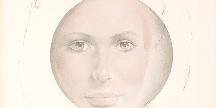 Paul Otero, Her Face Through a Portal, pencil, color pencil, n.d.