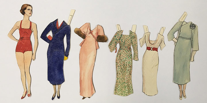 Mary Elizabeth Gifford, Stylish Paper Dolls, 1931, graphite, ink, ink wash, watercolor, 1931