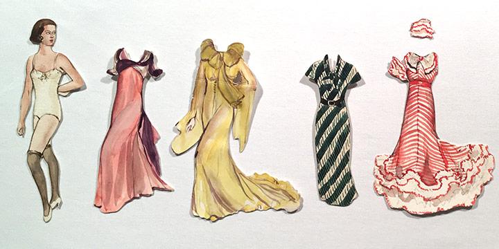 Mary Elizabeth Gifford, Stylish Paper Dolls, 1932, graphite, ink, ink wash, watercolor, 1932
