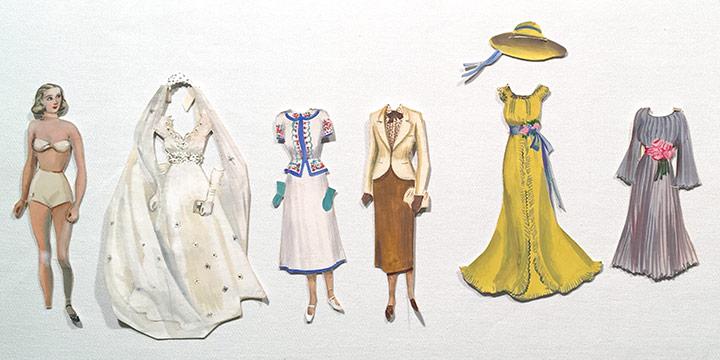 Mary Elizabeth Gifford, Stylish Paper Dolls, 1936, graphite, ink, ink wash, watercolor, 1936