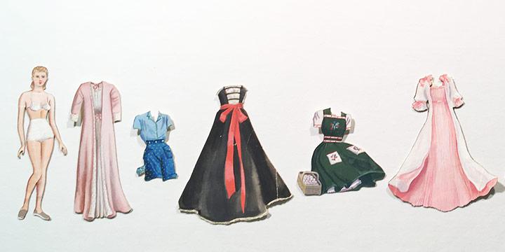Mary Elizabeth Gifford, Stylish Paper Dolls, 1940, graphite, ink, ink wash, watercolor, 1940