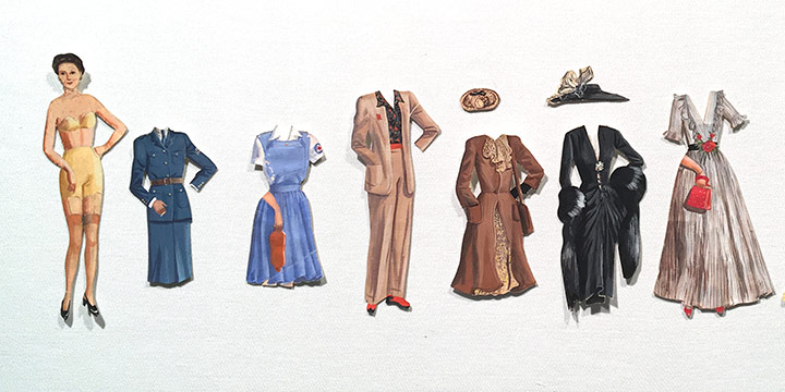 Mary Elizabeth Gifford, Stylish Paper Dolls, 1942, graphite, ink, ink wash, watercolor, 1942