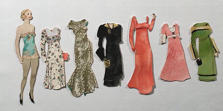 Mary Elizabeth Gifford, Stylish Paper Dolls, 1944, graphite, ink, ink wash, watercolor, 1944