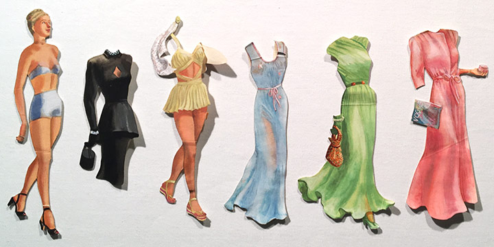 Mary Elizabeth Gifford, Stylish Paper Dolls, 1945 or 1946, graphite, ink, ink wash, watercolor, 1945-1946