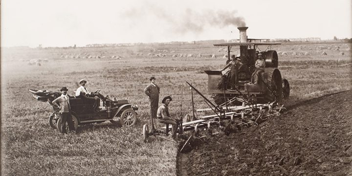 Solomon D. Butcher, Radford and sons plowing near Newark, Kearney County, Nebraska, 1910, black & white photograph (from glass plate negative in the Nebraska State Historical Society Collection) c. 1982-1984
