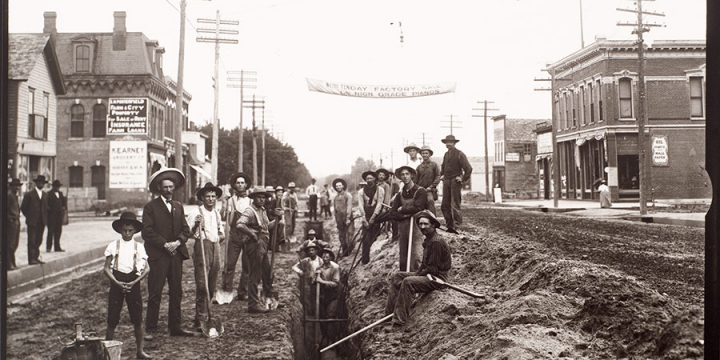 Solomon D. Butcher, Laying the water mains in Kearney, Buffalo County, Nebraska, 1906, black & white photograph (from glass plate negative in the Nebraska State Historical Society Collection)
