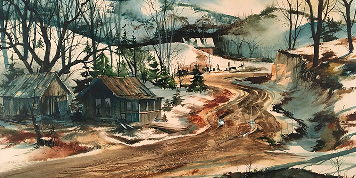 Tom Palmerton, Cock Holler, watercolor, 1971