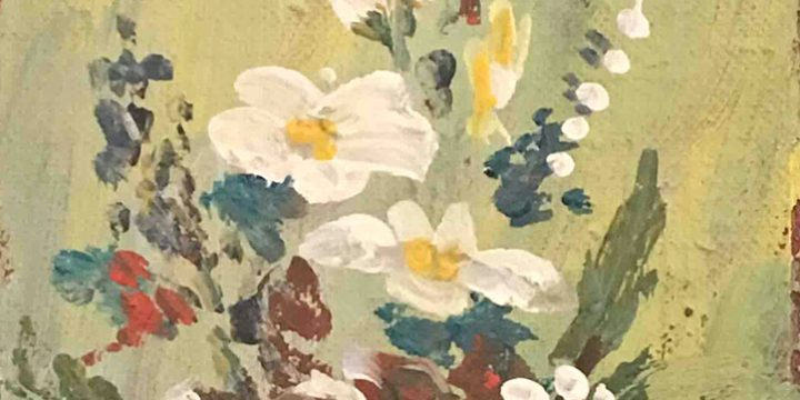 Virginia Rinder, Untitled (floral), oil on canvas panel, c. 1949