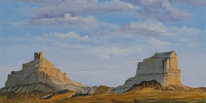 House and Court House Rock, oil on canvas, n.d.