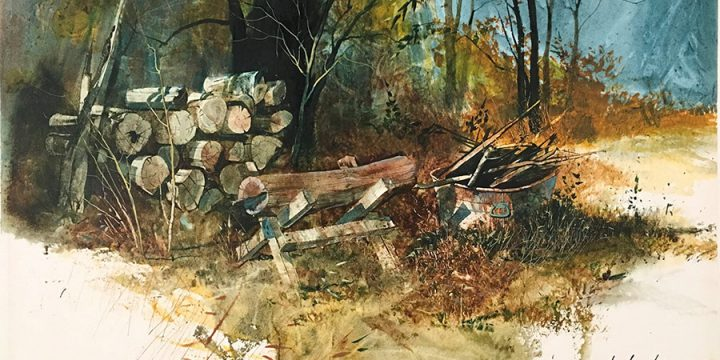 Tom Palmerton, Untitled (woodpile), watercolor, n.d.