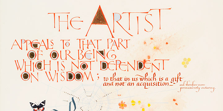 Art Pierce, The Artist, Joseph Conrad verse, calligraphy, 1992