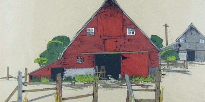 Donna Brink Reid, A Sandhills Barn-Nebraska, collage, 1992