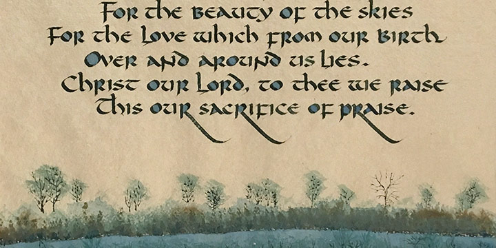 Art Pierce, For the Beauty of the Earth, calligraphy, c. 1990s