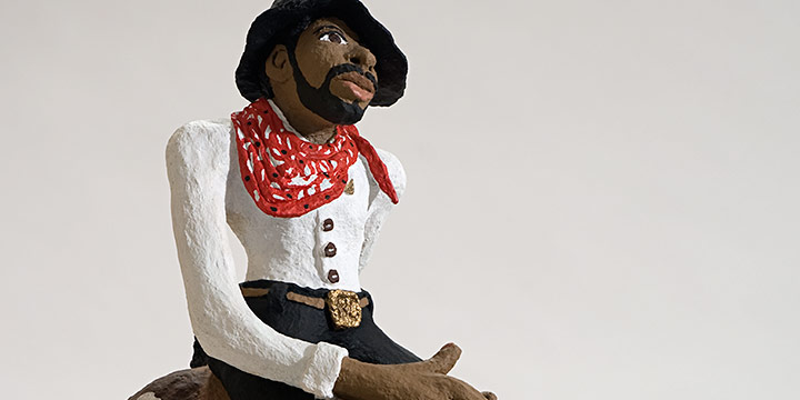 Reece Crawford, Ned the Cowboy, glue, paint, shredded paper, 1993