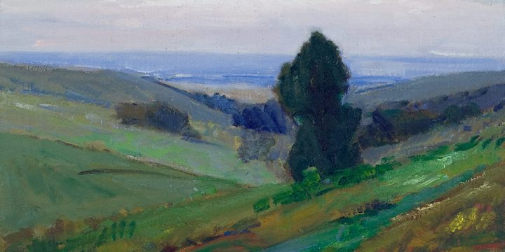 George Barker, Missouri Valley (from top of State Street), oil on panel, June, 1957