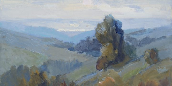 George Barker, Missouri Valley - Study 3 (from top of State Street), oil on panel, c. 1957