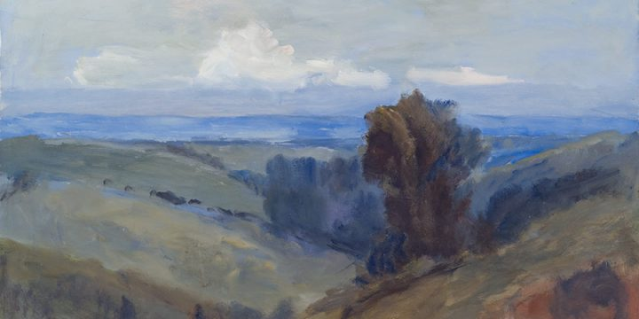 George Barker, Missouri Valley - Study 4 (from top of State Street), oil on panel, c. 1957