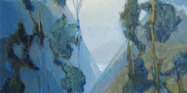 Potrero Canyon - Study 1, George Barker, oil on board, n.d.
