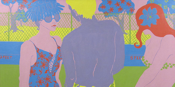 Cecelia (Cece) Milder, Three Figures Near a Swimming Pool, acrylic on canvas, 1966