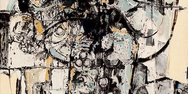 Rudy Pozzatti, Column, oil on canvas, 1954