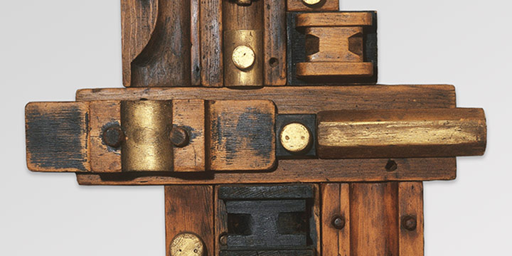 Donna Brink Reid, Cross Design, wood assemblage, 1991