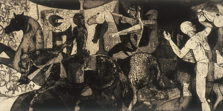 Jeanne Herron Richards, Parade, intaglio, graphite (21/25), c. 1952