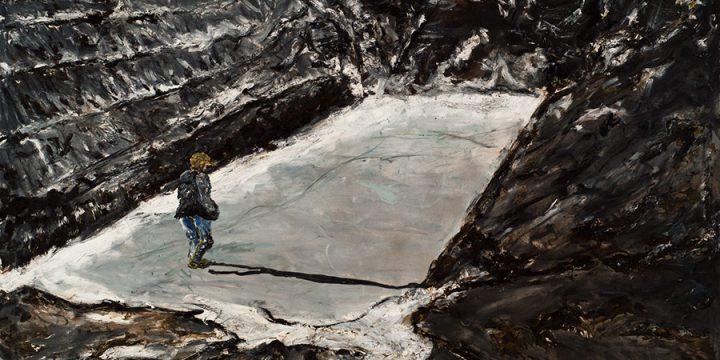 Craig Roper, John Hettrich (farmer in a frozen silage pit), oil, tar on canvas, 1986