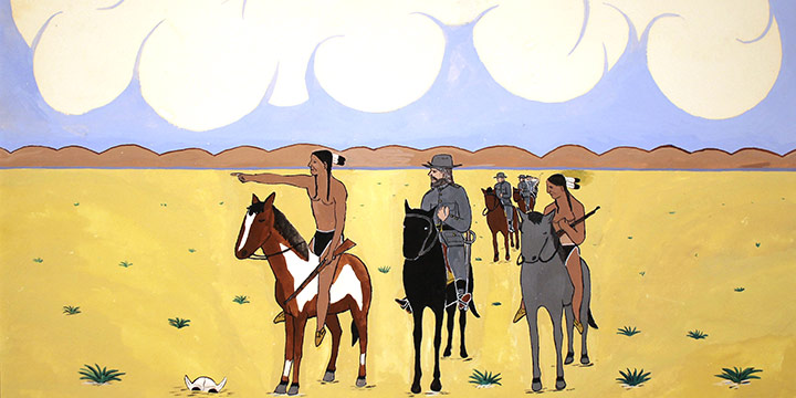 Henry Thomas Moses, Pawnee Scouts Assisting Major North, water based opaque paint, c. before 1940