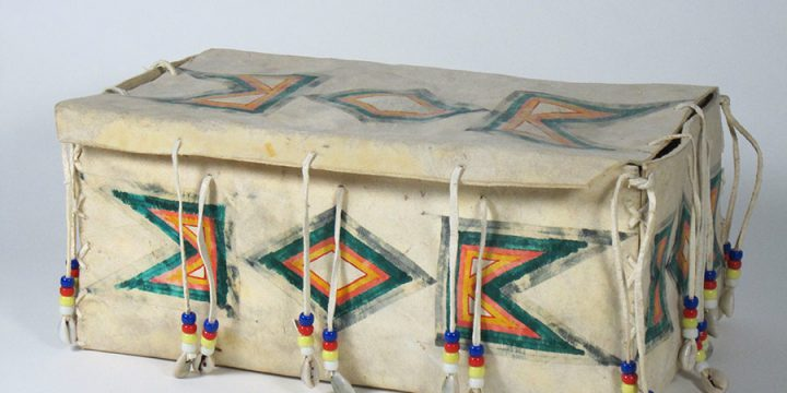 Lillian Martinez, Parfleche Box, hide, paint, beads, c. 1950s