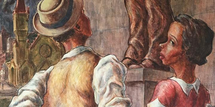 Alan Parker, Untitled (couple), oil on masonite, 1940