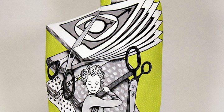 Anita Powell, Easy to Understand Illustrations: Cutting, low fire clay, glaze, underglaze, 2007
