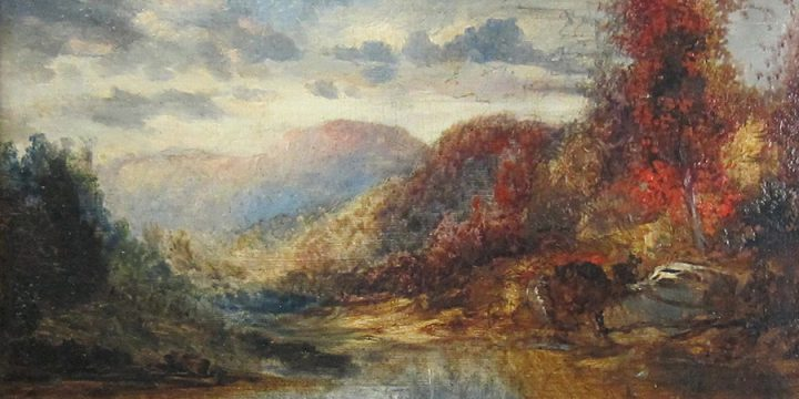 Thomas Moran, Untitled (landscape), oil on board, n.d.