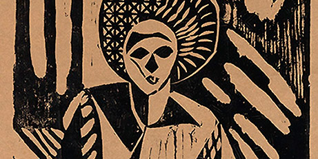 William E. Artis, Untitled (figure), woodcut on tan Japan paper (proof), c. 1950s