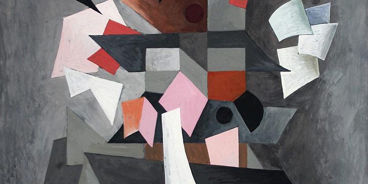 "Alan Parker, Paper Toys, gouache on board, 1949, 20½ × 13½"""