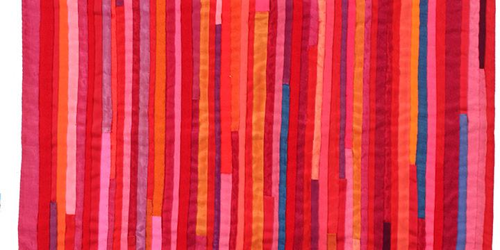 "Olga Folda Stepanek, Untitled (ribbon wall hanging-pink), fabric, n.d., 23¾ × 19¼"""