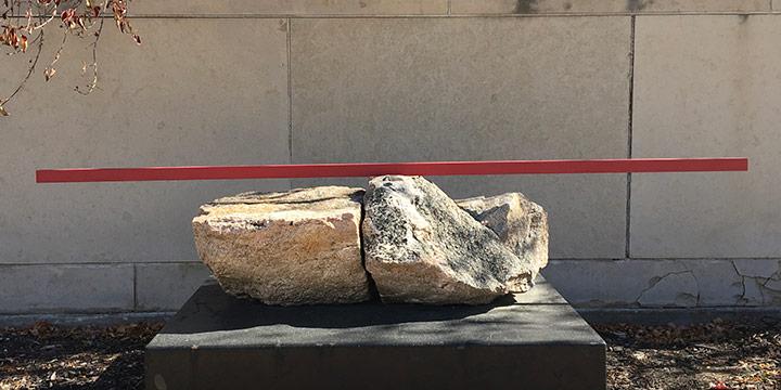 "George W. Neubert, Scholar Stone Series: Shogun, granite, steel, 2005-2009, 28 × 42 × 82"""
